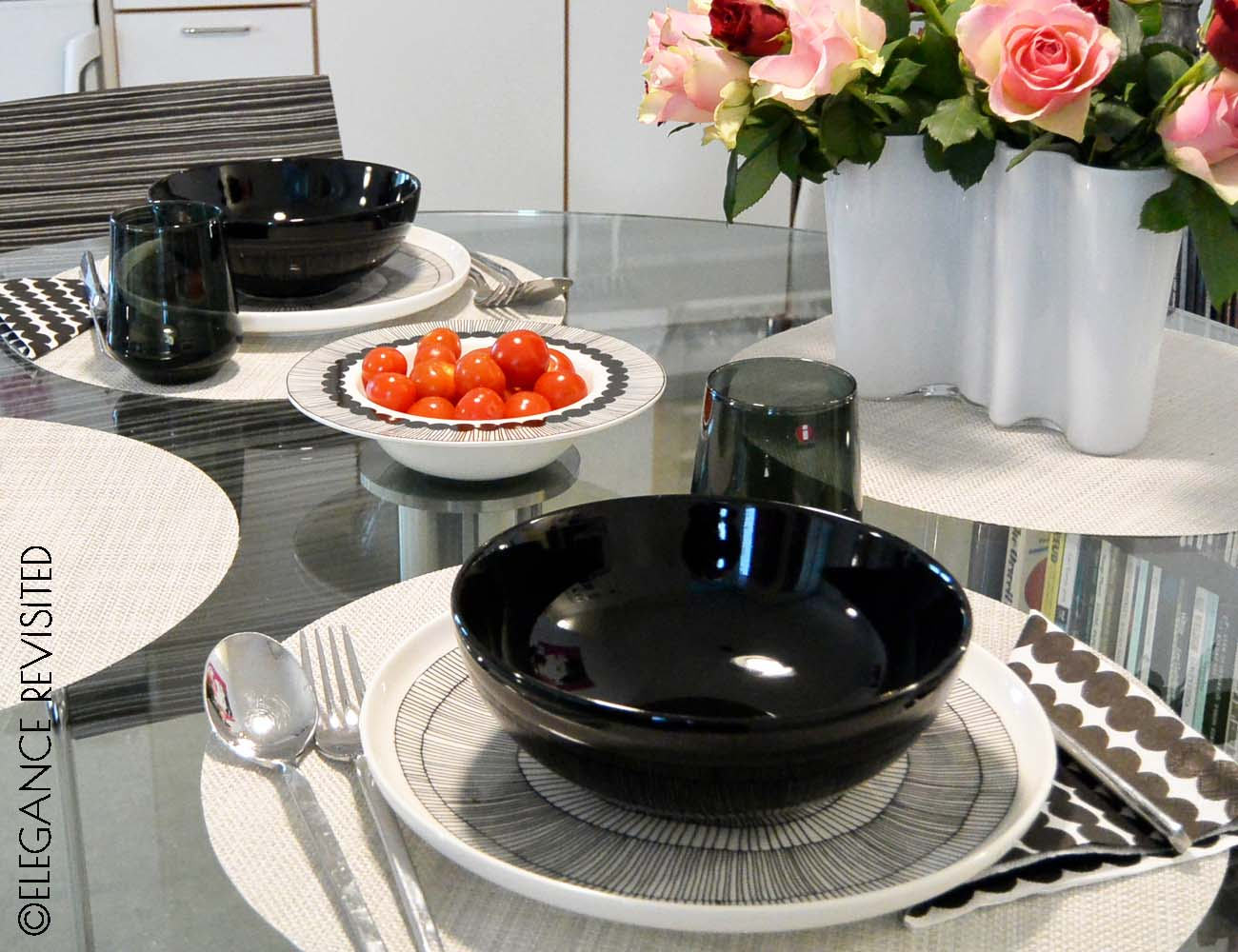 black and white tableware